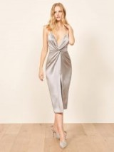 Reformation Robertson Dress in Silver | glamorous plunge front party dresses | vintage style evening glamour