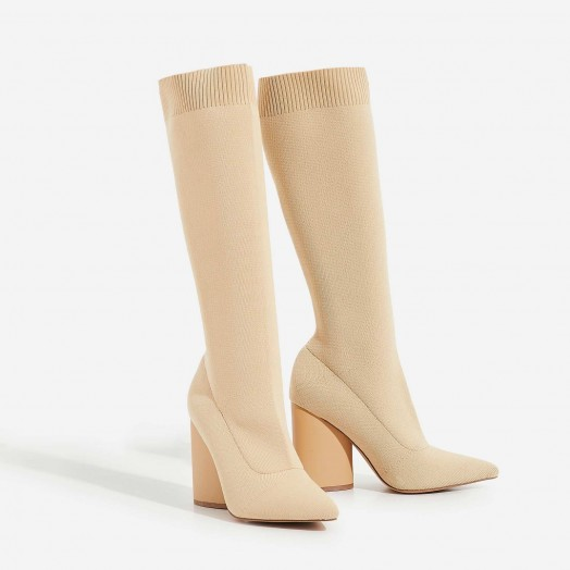 EGO Rocco Block Heel Ankle Sock Boot In Nude Knit – chunky heeled boots
