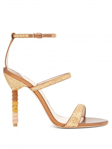 SOPHIA WEBSTER Rosalind gold crystal-embellished leather sandals – metallic heels