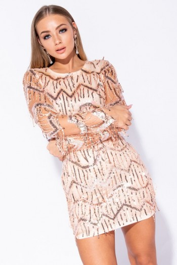 PARISIAN ROSE GOLD DANGLING SEQUIN LONG SLEEVE BODYCON MINI DRESS | luxe style party dresses