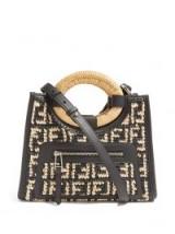 FENDI Runaway FF black leather and raffia tote bag