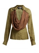 JACQUEMUS Saabi green and brown cowl-neck satin blouse | plunge front blouses