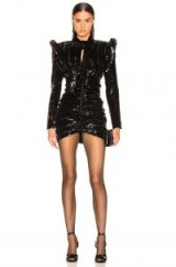 SAINT LAURENT Sequined Puff Sleeve Mini Dress in Black   statement party wear   event glamour