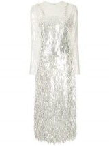 SANDRA MANSOUR Metallic embellished evening dress