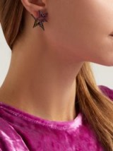 LYNN BAN Sapphire, topaz & rhodium-plated double star earrings