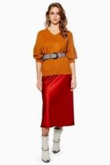 Topshop Satin Bias Midi Skirt in Rust