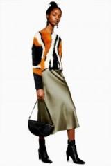 Topshop Satin Bias Midi Skirt in Khaki   slinky skirts