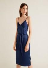 MANGO Satin dress in Navy – DELOS | blue strappy party frock