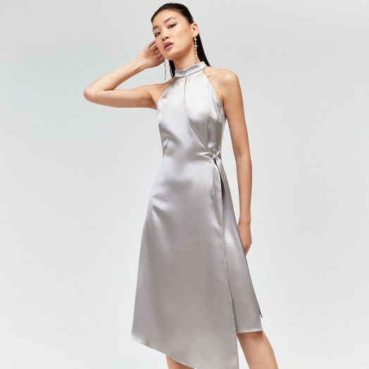 WAREHOUSE SATIN HALTER MIDI DRESS in Silver | luxe style party dresses