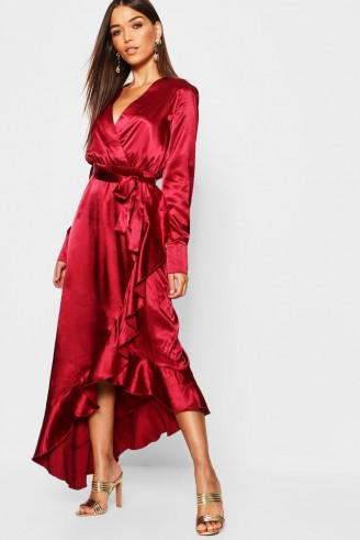 boohoo Satin Ruffle Wrap Maxi Dress in Burgundy | long red party dresses
