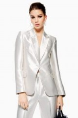 TOPSHOP Silver Satin Suit Jacket – luxe style jackets