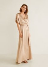 MANGO Satin tie dress in Gold – MILA | elegant party wear