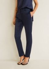 MANGO Satin trousers in blue | straight evening pants