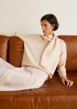 MANGO Scarf neck sweater in ecru | chic knits