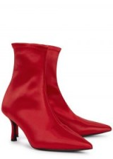 SENSO Qweene III red satin pointed toe boots