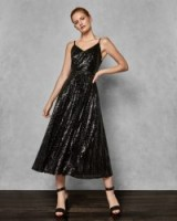 TED BAKER ETTA Sequin pleated maxi dress in black / shimmering fit and flare party dress