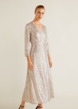 MANGO Sequined gown in silver – MONACO | metallic party dresses