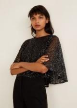 MANGO Sequined top in black – MONETT | sparkly flutter sleeve tops