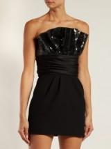 SAINT LAURENT Black sequinned gathered mini dress | strapless party dresses | glamorous LBD