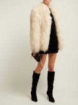 SAINT LAURENT Cream curly shearling jacket | shaggy jackets