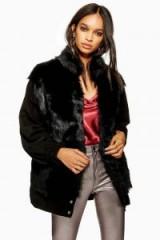 TOPSHOP Shearling Suede Jacket in Black