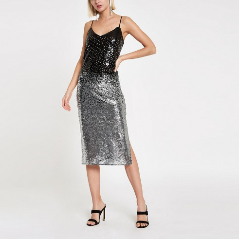 RIVER ISLAND Silver ombre sequin slip dress / shimmer & shine dresses