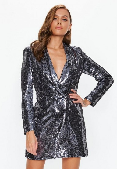 MISSGUIDED silver sequin blazer dress – party glamour