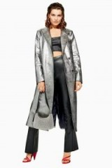 TOPSHOP Silver Textured Coat – metallic glamour