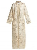 REBECCA DE RAVENEL Single-breasted alligator-print cloqué coat in ivory / luxury occasion outerwear