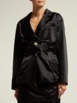 VIVIENNE WESTWOOD ANGLOMANIA Single-breasted gathered black satin blazer