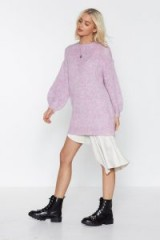 NASTY GAL Sorry Knit Sorry Oversized Sweater in lilac – slouchy crew neck