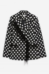 Topshop Spot Feather Jacket in Monochrome | glamorous trouser suit jackets