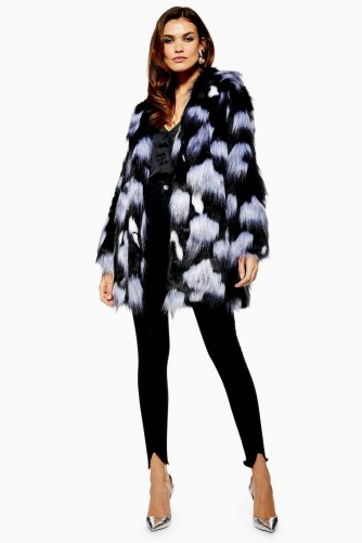 TOPSHOP Spot Mix Faux Fur Coat in Monochrome – fluffy winter coats