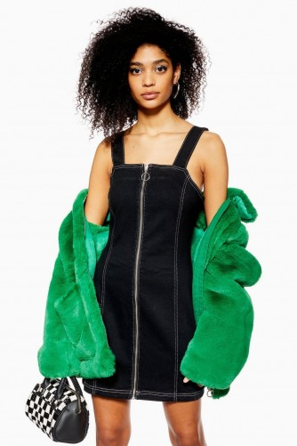 Topshop Stretch Denim Dress with Zip in Black