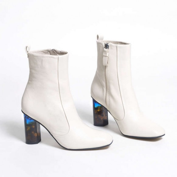 KURT GEIGER LONDON STRIDE 90 printed block heel ankle boot in cream leather