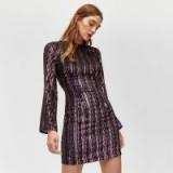WAREHOUSE STRIPE SEQUIN BODYCON DRESS | multicoloured sequins