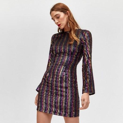 WAREHOUSE STRIPE SEQUIN BODYCON DRESS | multicoloured sequins - flipped