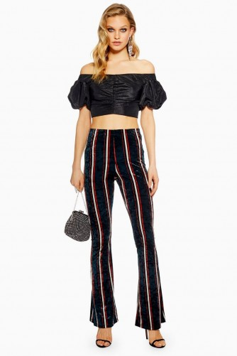 Topshop Striped Velvet Flares | flared party pants