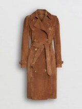 BURBERRY Suede Trench Coat in Sepia Brown ~ classic belted coat