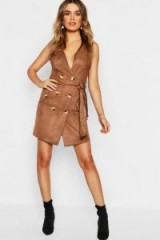 boohoo Suedette Double Breasted Shift Dress in Mocha
