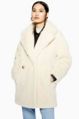 Topshop Super Soft Borg Coat in Cream   luxe style winter coats