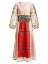GANNI Sweeney printed cotton maxi dress – multi prints – prairie style dresses
