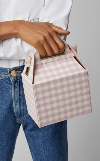 Pop & Suki Takeout Pink Gingham Wool Bag / pretty checked box bag