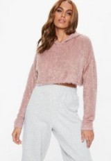 MISSGUIDED tall rose fluffy hooded cropped jumper – pink crop hem pullover