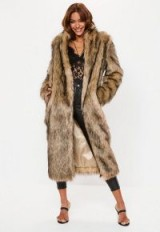 MISSGUIDED tan tipped faux fur maxi coat – shades of brown