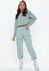 Missguided teal utility pocket cargo trousers | cuffed pants