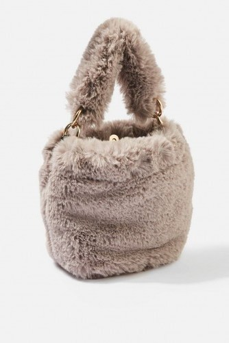 Topshop Teddy Faux Fur Bucket Bag in Grey | small fluffy top handle bags - flipped