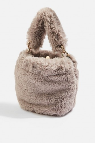 Topshop Teddy Faux Fur Bucket Bag in Grey | small fluffy top handle bags