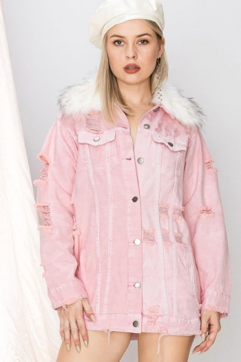 STORETS TELLA OVERSIZED DENIM JACKET in pink