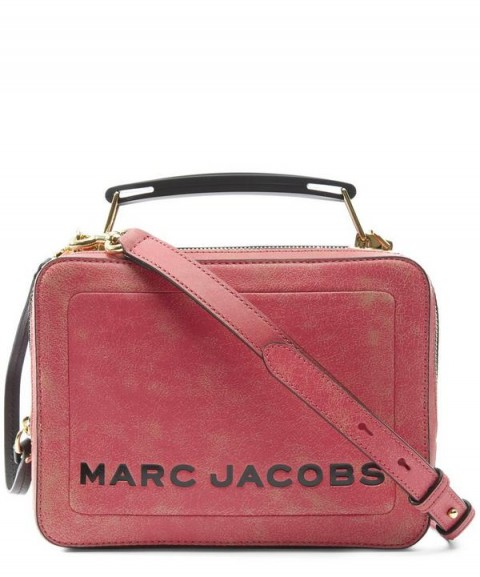 MARC JACOBS The Box Pink Distressed Leather Cross Body Bag